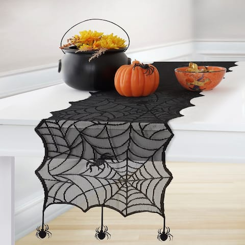 "Crawling Halloween Spider Lace Table Runner - 13""x70"""