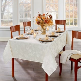 Link to Elegant Woven Leaves Jacquard Damask Tablecloth Similar Items in Table Linens & Decor
