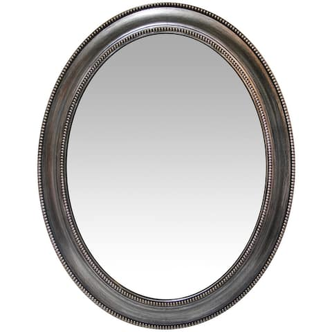 Copper Grove Dieppe Oval Wall Mirror with Vintage Silvertone Finish