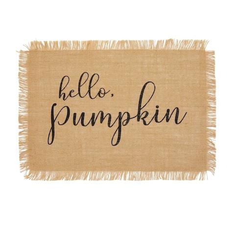 """Hello Pumpkin Farmhouse Burlap Placemat, Set of 4 - 13""""x19"""""""