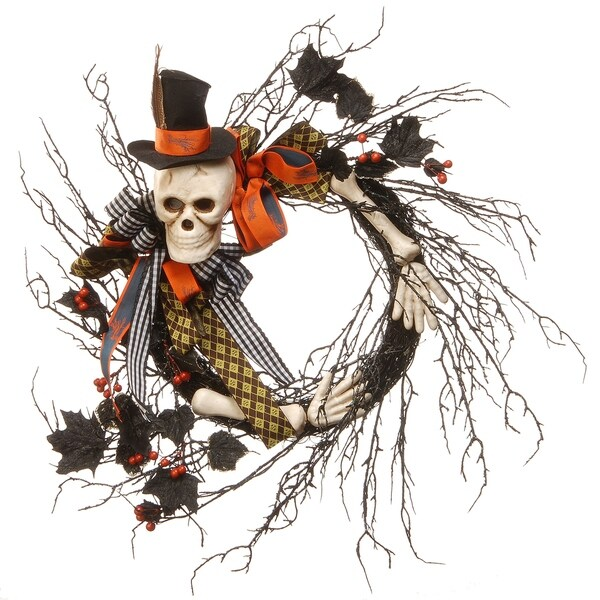 Black/Orange Plastic 24-inch Halloween Skeleton Wreath
