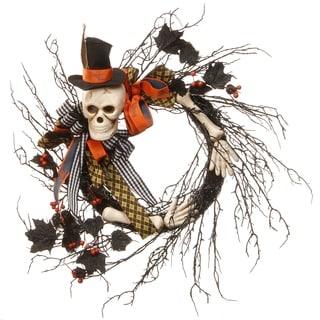 Black/Orange Plastic 24-inch Halloween Skeleton Wreath