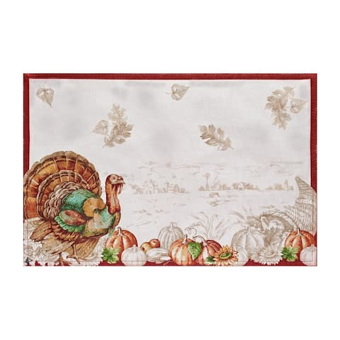 """Holiday Turkey Bordered Fall Placemat, Set of 4 - 13""""x19"""""""