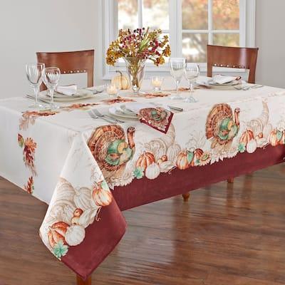 Holiday Turkey Bordered Fall Tablecloth