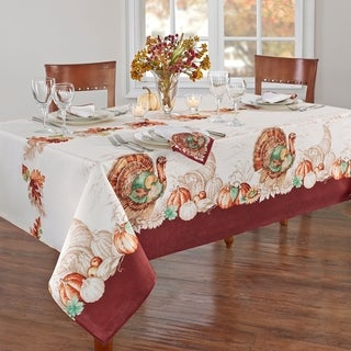 Link to Holiday Turkey Bordered Fall Tablecloth Similar Items in Table Linens & Decor