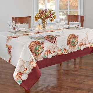 Holiday Turkey Bordered Fall Tablecloth