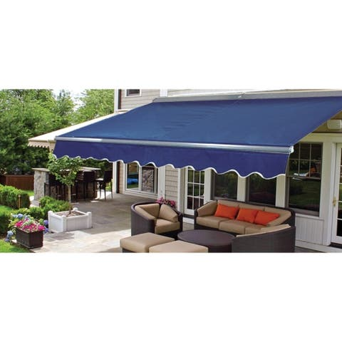 ALEKO Sunshade Half Cassette Retractable Patio Deck Awning 12x10 ft Blue Color
