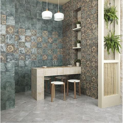 SomerTile 7.875x7.875-inch Aureole Decor Mix Ceramic Wall Tile (25 tiles/11.29 sqft.)
