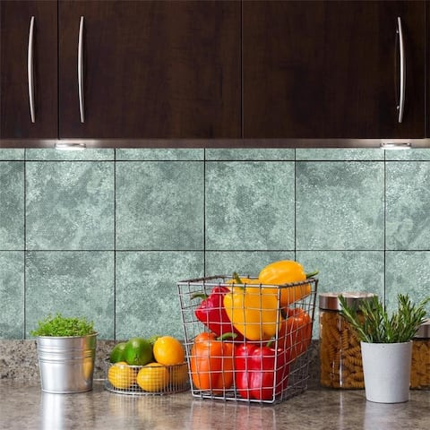 SomerTile 7.875x7.875-inch Aureole Sea Green Ceramic Wall Tile (25 tiles/11.29 sqft.)