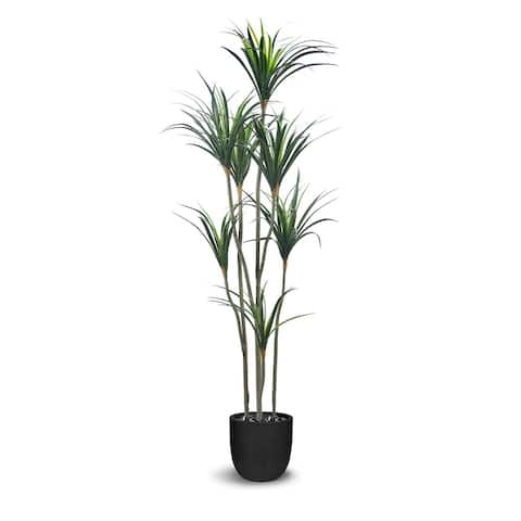 Dracaena Artificial Multiple Trunk Green Faux Botanical - 75 Inch