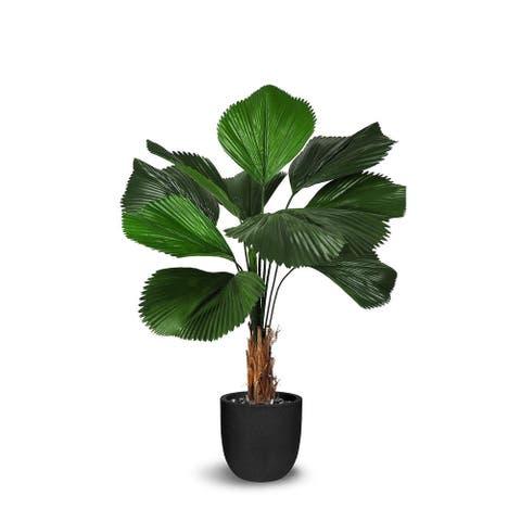 Licuala Grandis Artificial Faux Botanical - Green - 58 Inch - 58 Inch