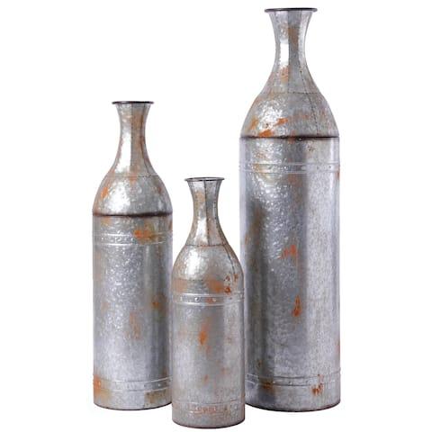 Rustic Farmhouse Style Galvanized Metal Floor Vase Decoration