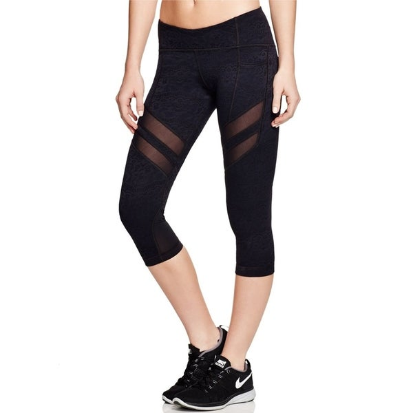 5f074860e58b0c Shop Vimmia Women's Elastic Waist Solid Mesh Trim Active Capri Leggings,  Black - Free Shipping Today - Overstock - 28243159