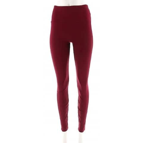 Lysse Women's Elastic Waist Solid Stretch Nylon Knit Leggings, Wine