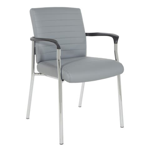 Work Smart Guest Chair with Faux Leather and Chrome Frame