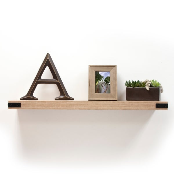 InPlace Oak Floating Shelf w/Metal Corners