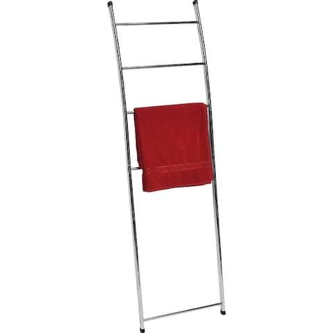 Free Standing Bath Towel Ladder Wall Leaning Drying Rack 4 Bars