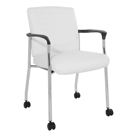 Work Smart Guest Chair in Faux Leather with Casters
