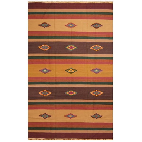 Handmade One-of-a-Kind Wool Kilim (India) - 5'9 x 9'1