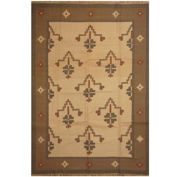 Handmade One-of-a-Kind Wool Kilim (India) - 6'2 x 9'2