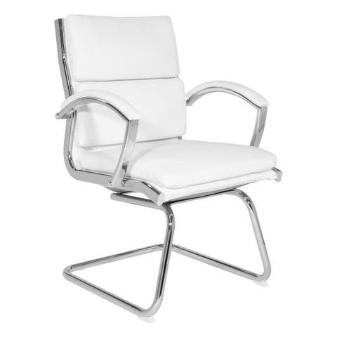 Work Smart Mid-Back Faux Leather Vistor's Chair