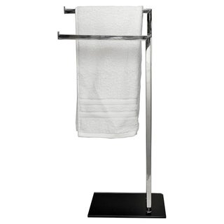 Free Standing Stainless Steel 2 Arms Towel Rack Black Glass Base
