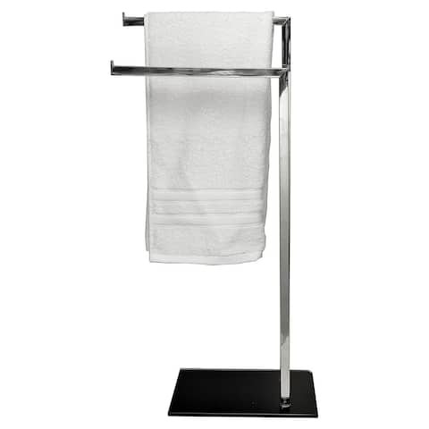 Free Standing Stainless Steel 2 Arms Towel Rack Tempered Black Glass Base