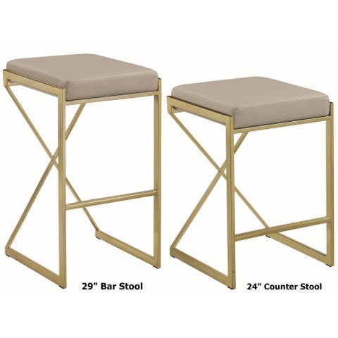 Chic Euro Design Gold Frame with Taupe or White Upholstered Seat Stool