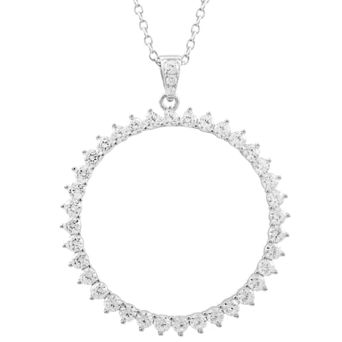 Luxiro White Cubic Zirconia Sterling Silver Open Circle Pendant Necklace