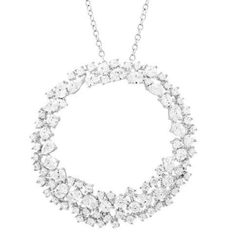 Luxiro Sterling Silver White Cubic Zirconia Open Circle Pendant Necklace