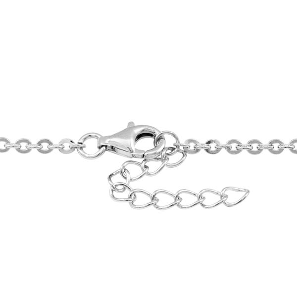 Solid 925 Sterling Silver Pendant Cubic Zirconia CZ Bow on Rolo Chain Necklace 16