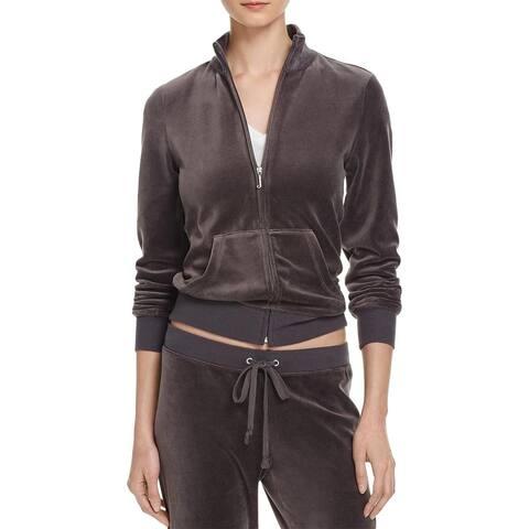 Juicy Couture Black Label Robertson Velour Zip Track Jacket, Top Hat Grey