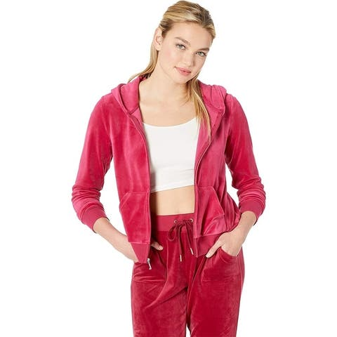 Juicy Couture Women's Sequin Logo Hoodie, Raspberry Pink