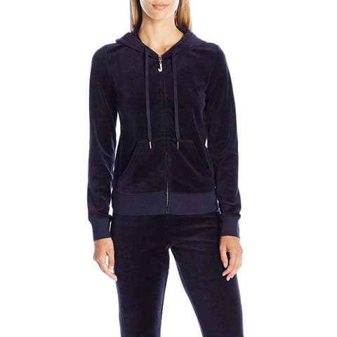Juicy Couture Womne's J Bling Velour Robertson Jacket, Regal