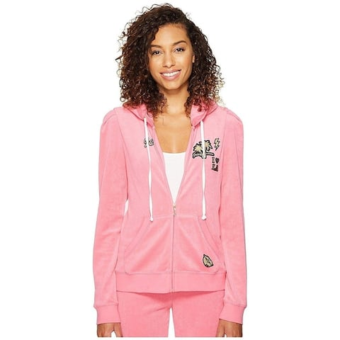 Juicy Couture Women's Venice Beach Patches Microterry Puff Sleeve Jacket, Precocious Pink