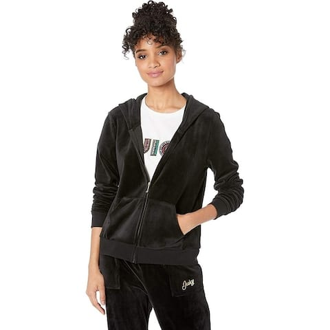 Juicy Couture Women's Triple Juicy Glitter Logo Hoodie, Pitch Black