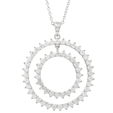 Luxiro White Cubic Zirconia Sterling Silver Double Open Circle Pendant Necklace