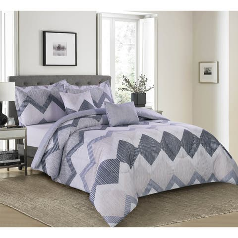Lemon & Spice Zander Chervon Reversiable 5 Piece Comforter Set