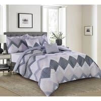 Lemon & Spice Zander Chervon Reversiable 5 Piece Comforter Set