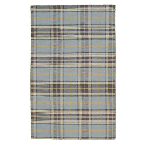 Blue/Navy Plaid Handmade Wool Rug