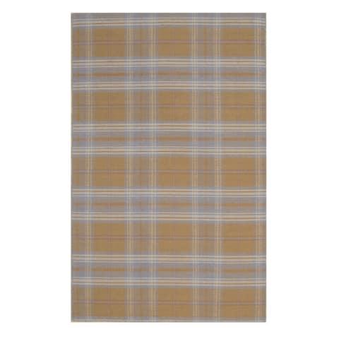 EORC Handmade Beige/Blue Plaid Wool Rug - 8' x 10'