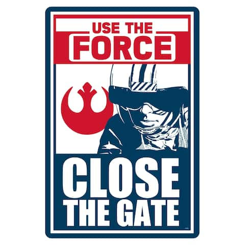 """Star Wars Pool Sign - Use the Force, Close the Gate - 12"""" x 18"""""""