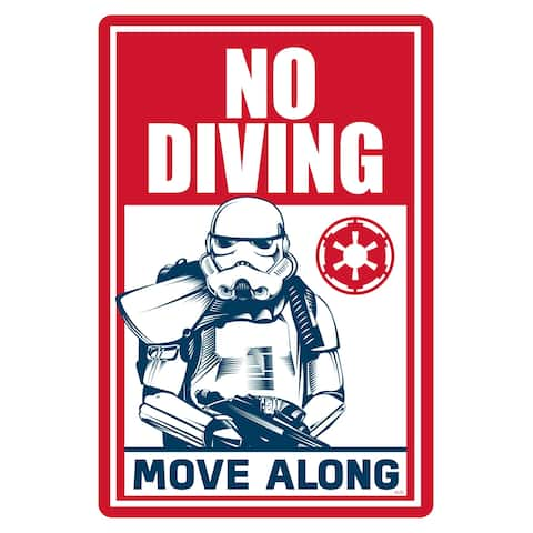 "Star Wars Pool Sign - No Diving, Move Along - 12"" x 18"""