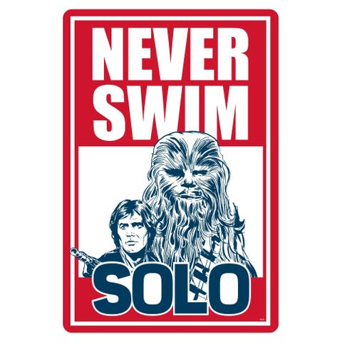 "Star Wars Pool Sign - Never Swim Solo - 12"" x 18"""