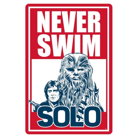 "Star Wars Pool Sign - Never Swim Solo - 12"" x 18"""