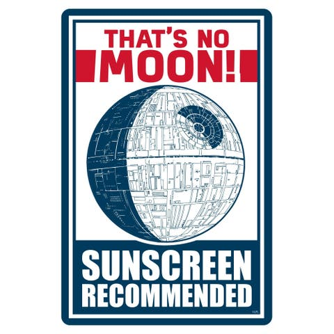 """Star Wars Pool Sign - That's No Moon, Sunscreen Recommended - 12"""" x 18"""""""