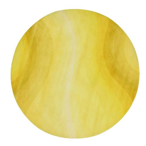 Yellow Wool Desertland Round Handmade Rug - 6' x 6'