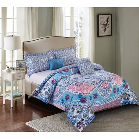 White Birch Drew Medallion Reversiable 5 Piece Comforter Set