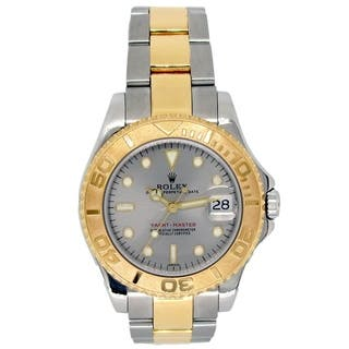 Pre-owned 35mm Rolex 18k Yellow Gold and Stainless Steel Oyster Perpetual Yachmaster Watch