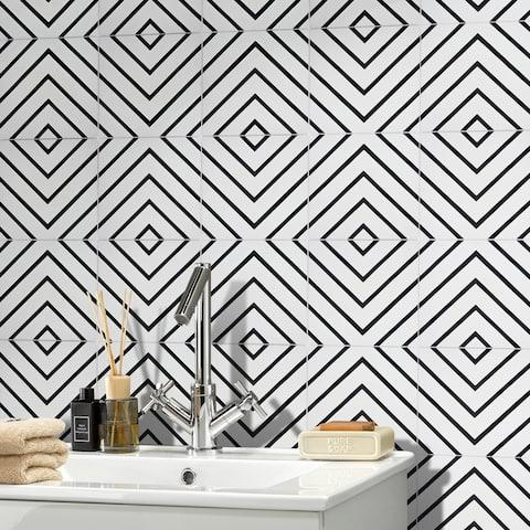Handmade Amlil in White and Black Tile, Pack of 12 (Morocco)
